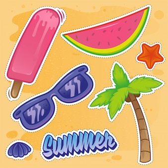 Значки наклеек-наклеек устанавливают отдельные элементы, связанные с летним отдыхом на море, горячие пляжи, океанские очки, тропические фрукты, ананас, арбуз. на фоне песка современная иллюстрация