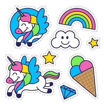 Комплект элементов значков в картине стикера для образования детей и воодушевленности с звездой сладостного мороженого счастливой фантазии единорога красочной радуги. дизайн современного персонажа из мультфильма иллюстрации плоский.