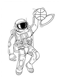 Гравюра рисует с космонавтом-космонавтом, который играет в баскетбол и заставляет хлопать данком. урожай мультипликационный персонаж иллюстрации комиксов стиле поп-арт изолированные