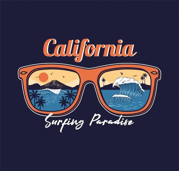 夏のサングラス反射海波海ビーチサーフィンパラダイスビューパームサンセット山カリフォルニア。