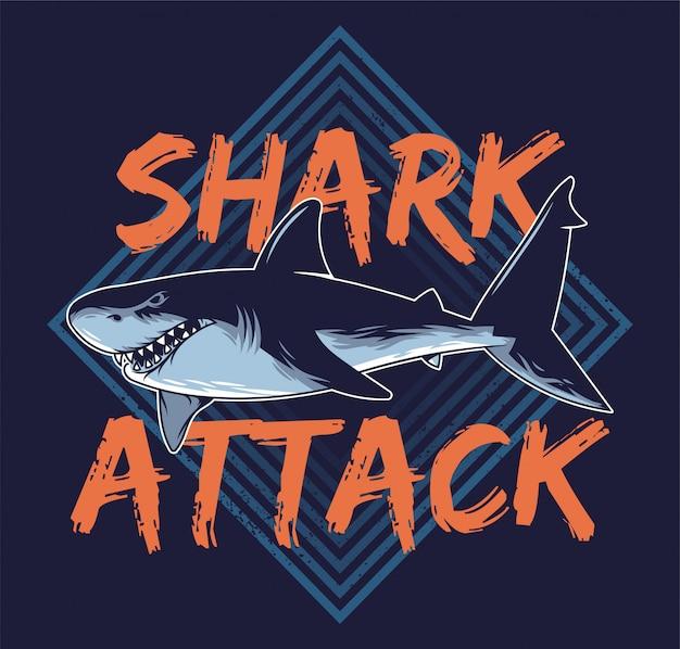 大きな怒っている空腹の危険な抽象的なサメ