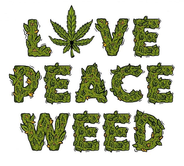 装飾的な緑のマリファナのスローガン