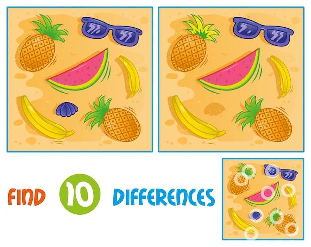 Найди отличия логики образования в интерактивной игре для детей. значки набор элементов, связанных с песком летнее время отдыха отпуск море горячий пляж океан очки тропические фрукты ананас арбуз.