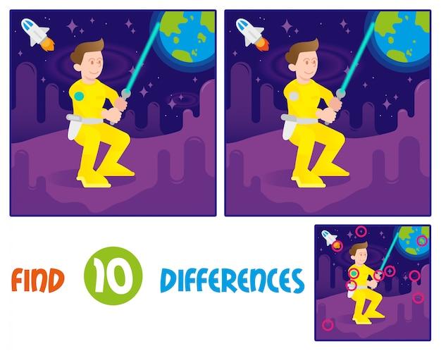 Найди отличия логики образования в интерактивной игре для детей. молодой милый космонавт астронавт истребитель воин мальчик, который держит космический лазерный меч. встаньте на другую планету или галактику в открытом космосе со звездами