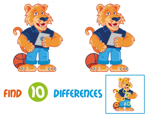 Найди отличия логики образования в интерактивной игре для детей. очень милый и счастливый мультяшный тигр, который улыбаются и хранят и используя планшетный гаджет. мультипликационный персонаж для детского школьного талисмана образования