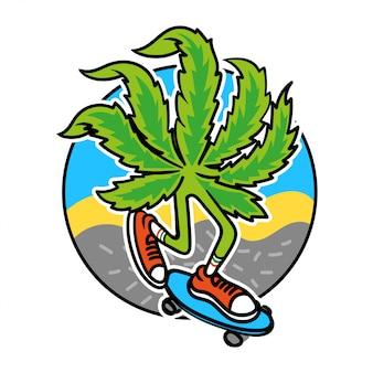 リラックスしてスケートボードに乗るマリファナのリラックスした葉。漫画のキャラクターのスニーカーの雑草モダンなイラスト