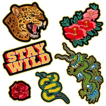 日本のドラゴン、ヒョウの野生の頭、金のヘビ、トレンドフレーズ、花とパッチまたはステッカーのファッションデザインプリント花モダンなトレンディなアイコン