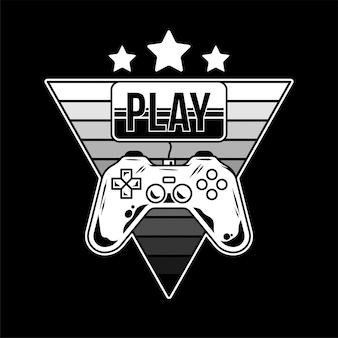 Логотип с геймпадом для игровой аркады и золотая кнопка «играть» для геймера. дизайн, мультфильм иллюстрация с контроллером для игрока культуры гиков. дизайн одежды в новом стиле ретро.