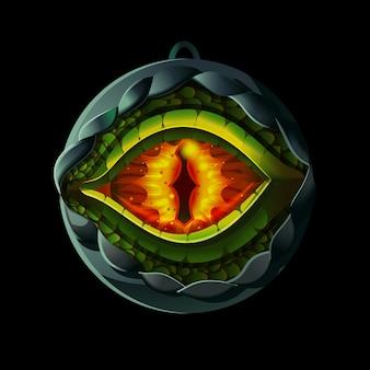 ドラゴンまたはトカゲの目が入った魔法の妖精の円形浮彫り。ゲームデザインのイラスト。中世の年齢スタイルのゲームアイコン、背景に分離されたアイテム。