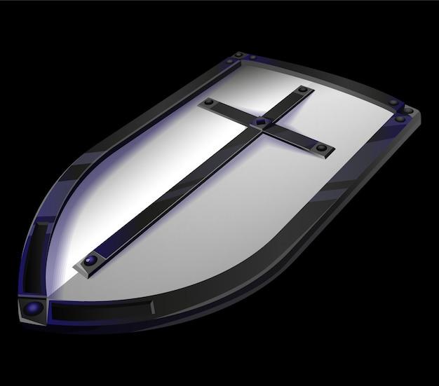 戦いで保護するためのキリスト教の十字架を持つ大きな金属のテンプル騎士団の盾。ゲームデザインのイラスト。中世時代のスタイルのゲームアイコン、背景に分離されたアイテムの騎士の武器。