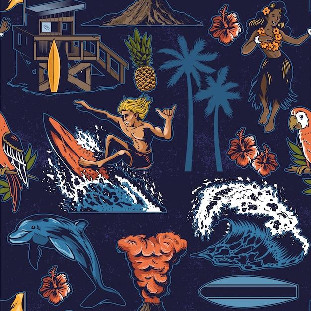 サーフィンとハワイの要素を持つヴィンテージのカラフルなシームレスなテキスタイルパターン。