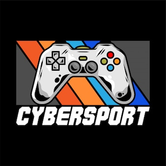 Киберспорт логотип для команды с геймпадом для видеоигры для геймеров.