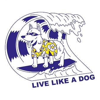 Очень рад, милая собака в солнцезащитные очки, серфинг на большой волне. шарж иллюстрации праздника летнего времени