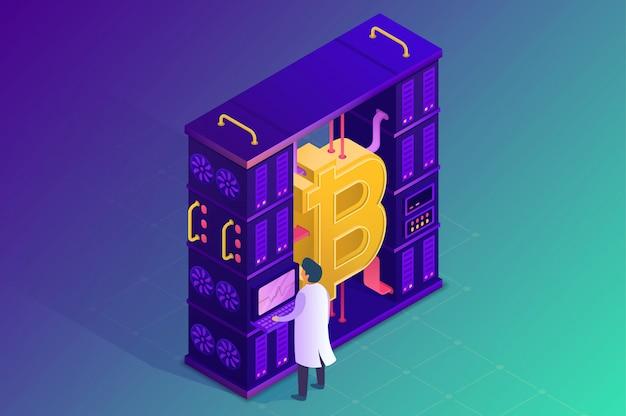 Майнинг криптовалюты. изометрическая иллюстрация.