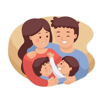 幸せな家族がお互いをハグのイラスト。医療保険のイメージ。ママとパパと娘と息子。国際家族の日。白い背景で隔離のフラットスタイル。