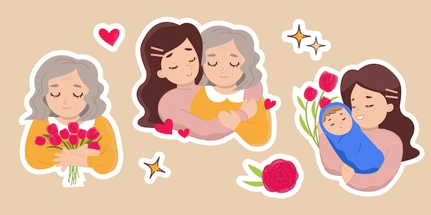 母の日にセットしたステッカー。花束を持った老婦人、彼女のお母さん、彼女の赤ちゃんを持つ女性を抱き締める娘。フラットスタイルのデザイン。