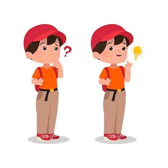質問について考えていて、ついに電球のアイコンが付いた答えまたはアイデアを見つけた少年。白い背景で隔離の子供漫画。