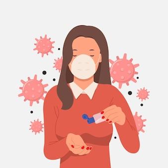 新しい通常のコンセプト。女性はマスクを着用し、アルコール消毒ジェルを使用して手をきれいにし、コロナウイルスを防ぎます。白い背景で隔離の図フラットスタイル