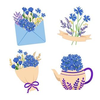 青い野生の花の装飾ステッカーのコレクション。かわいいフラワーアレンジメントの装飾要素。
