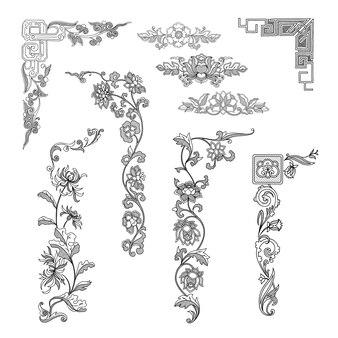 ボーダー飾りのヴィンテージの要素