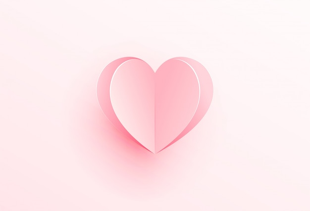 紙のイラストから切り出したピンクのハート。バレンタイン・デー