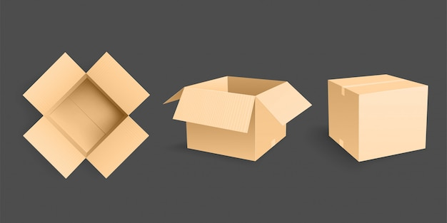 Три открытые картонные коробки