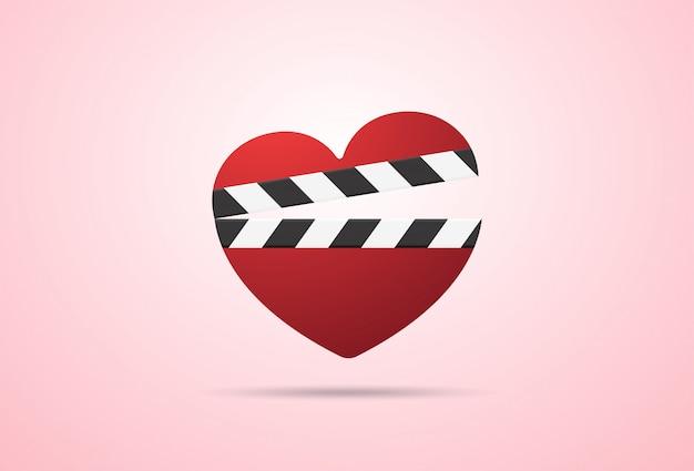 Романтический фильм значок с сердцем клаппер
