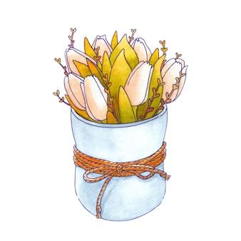 Акварельный букет из весенних цветов. тюльпаны и листья. изолированные на белом фоне рисованной иллюстрации