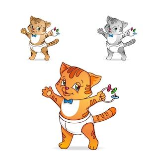 Маленький кот, маленький котенок в подгузнике с погремушкой. иллюстрация шаржа изолированная на белой предпосылке