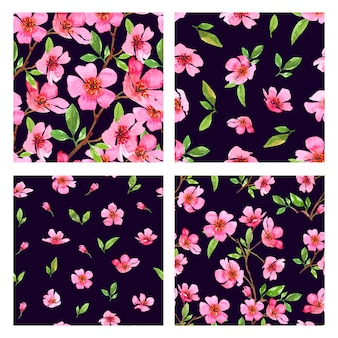 Набор акварели сакуры цветок бесшовные шаблоны. сакура красивый весенний цветочный шаблон. красочные иллюстрации на черном фоне.