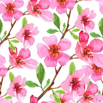 Акварель цветок сакуры бесшовный фон. сакура красивый весенний цветочный шаблон. красочная иллюстрация изолированная на белой предпосылке.