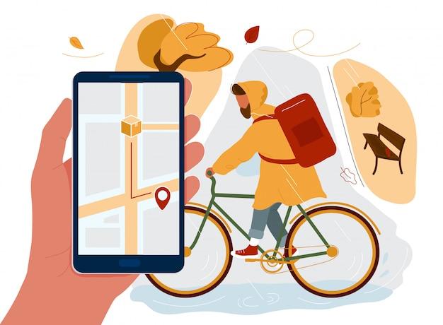 Рука телефон с картой на экране и курьером