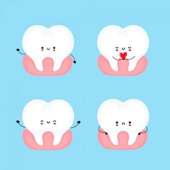 かわいい幸せと悲しい歯のセット