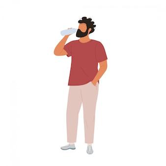 Молодой человек питьевой воды из бутылки. плоский современный модный стиль.