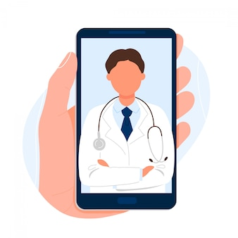 画面上の医師と携帯電話を持っている手