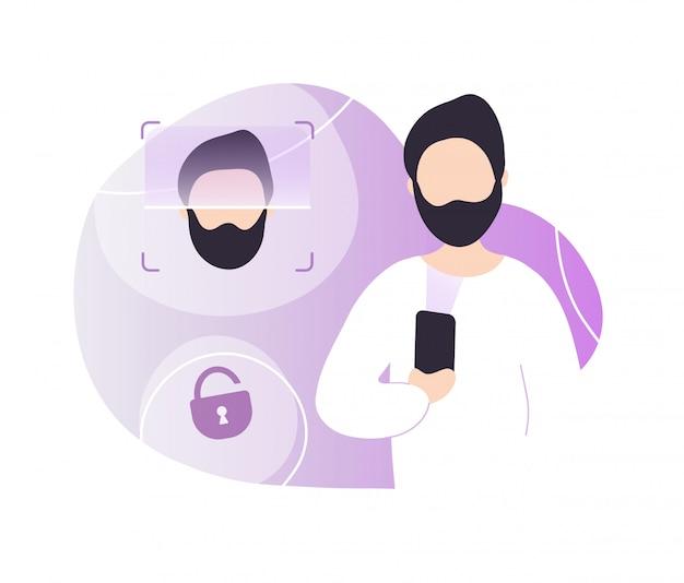 Человек разблокирует телефон с помощью распознавания лиц