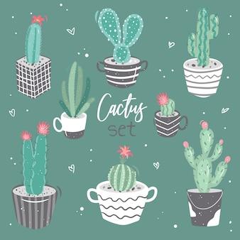 かわいいサボテン、花を持つサボテンのコレクションのセット。漫画のスタイルの装飾的な自然の要素