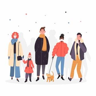 Молодые люди заражаются вирусом, люди в медицинских халатах, респираторах, маске. ухань пневмония иллюстрации. вирус короны атакует! толпа людей на улице.