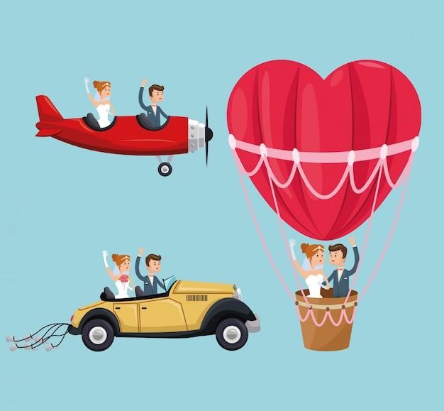 熱気球の飛行機の車のカップルの漫画