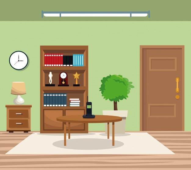Комната горшок дерево книжный шкаф часы лампа стол телефон дверь ковер
