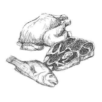 肉手描きのコレクション。異なる種類の肉のセット。