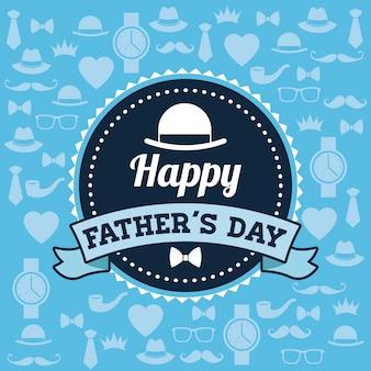 Концепция «счастливые отцы» с дизайном значков