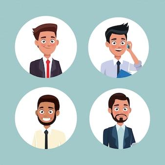 ビジネスのための半身の男性の文字を設定する円形のフレームアイコンと色の背景