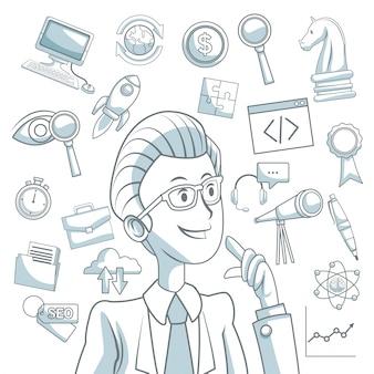 エグゼクティブ・マンとアイコンのビジネス開発のシェーディング・カラーセクションの白い背景