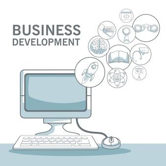 シルエットの色のセクションを持つ白い背景浮動アイコンを持つ机のコンピュータの陰影ビジネス開発のベクトル図