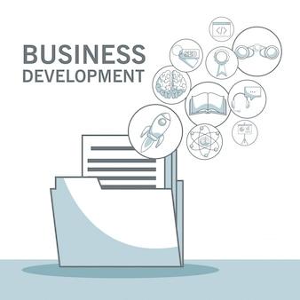 シルエットカラーセクションを含む白い背景フローティングアイコンを含むフォルダドキュメントのシェーディングビジネス開発