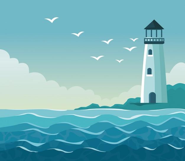 海岸に灯台があるカラフルなポスターの海辺
