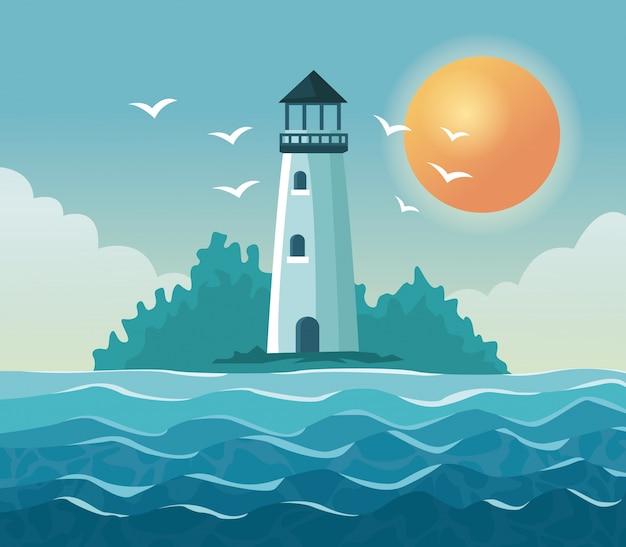 空の太陽と海岸に灯台とカラフルなポスターの海辺
