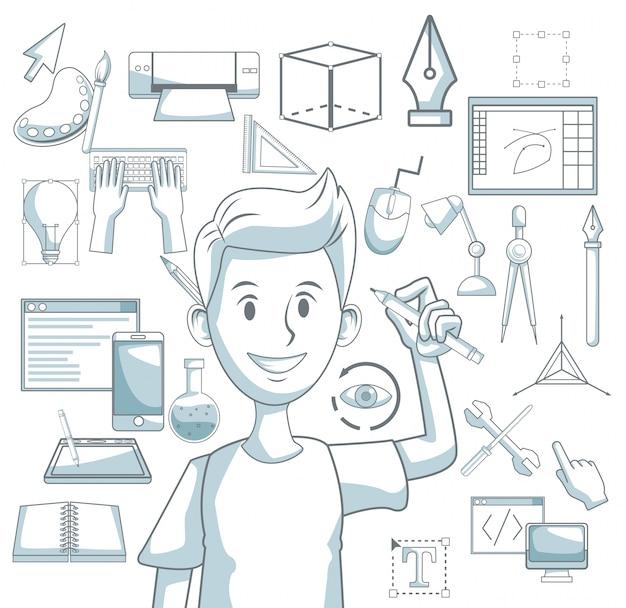 Белый фон с цветовыми элементами силуэта затенение парня с карандашом и элементами графического дизайна