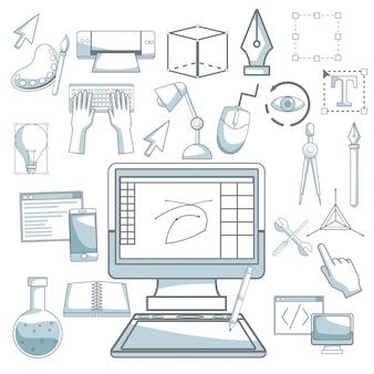 Белый фон с силуэтом цветовых разделов штриховкой настольного компьютерного устройства и элементов графического дизайна